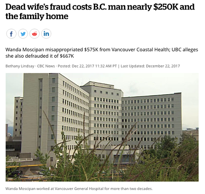 Dead wife's fraud costs B.C. man nearly $250K and the family home